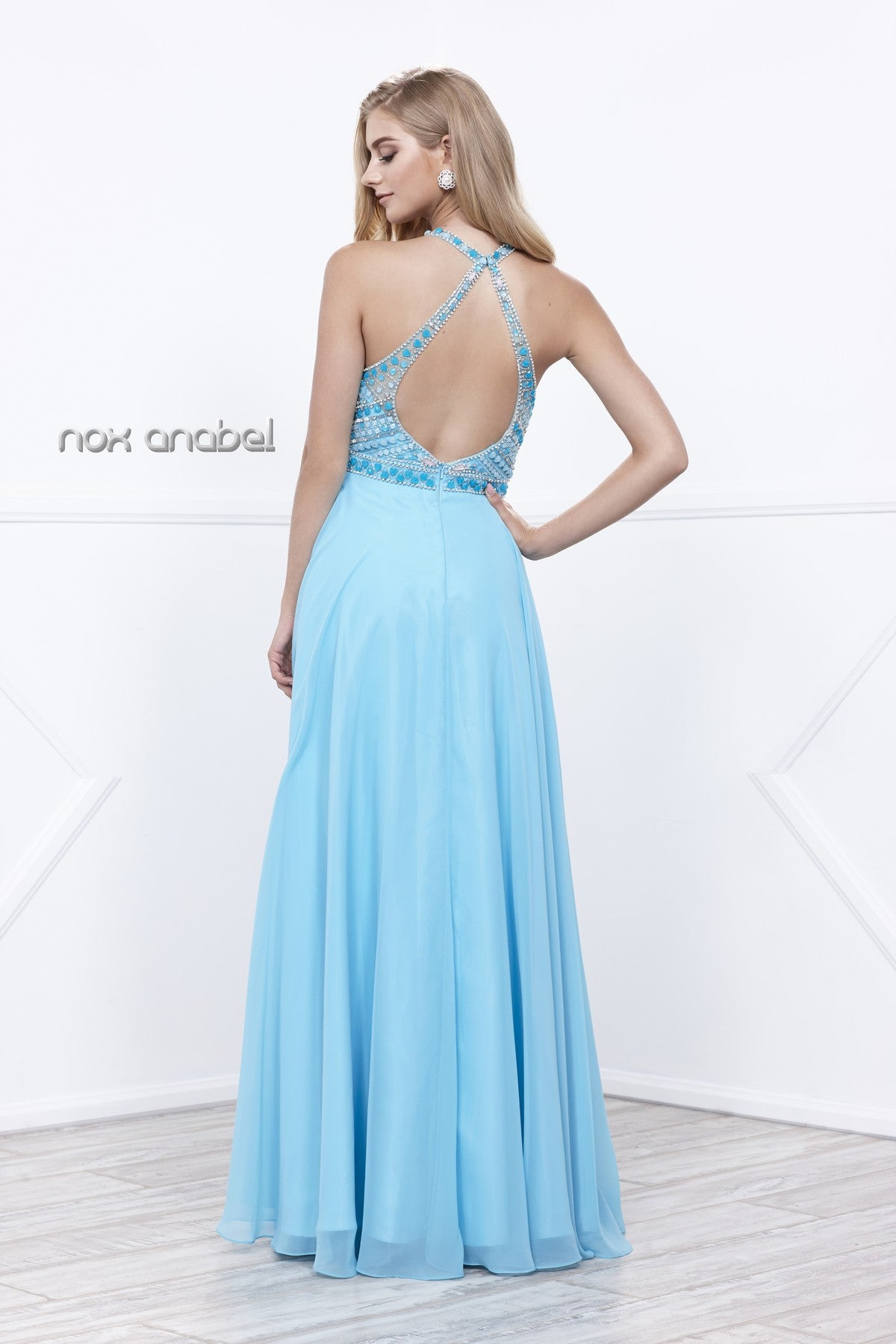Aqua Open Back Embellished Bodice A-Line Halter Formal Dress Long