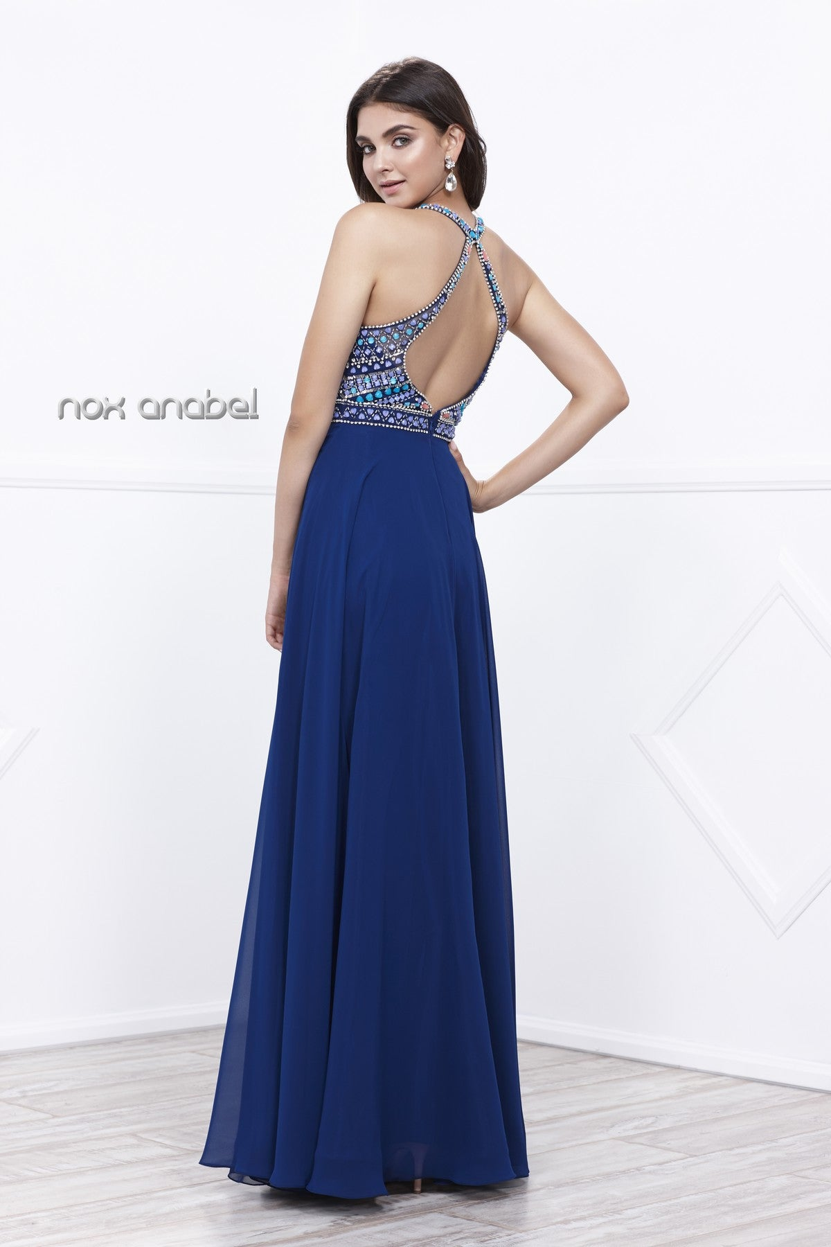 Navy Blue Open Back Embellished Bodice A-Line Halter Formal Dress Long