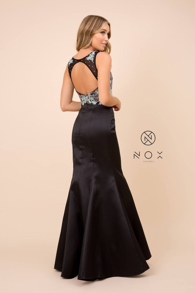 Nox Anabel 8287 Black Mermaid 2-Piece Gown Lace Embroidered Crop Top