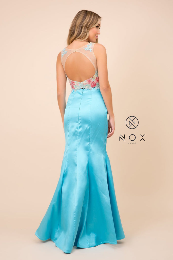 Nox Anabel 8287 Turquoise Mermaid 2-Piece Gown Lace Embroidered Crop Top