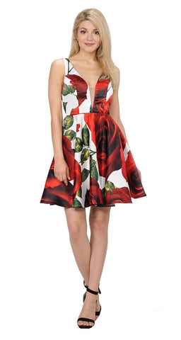 Floral Print Deep V-Neck Homecoming Short Dress