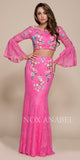 Nox Anabel 8288 Long Fuchsia 2-Piece Lace Dress Embroidered Long Bell Sleeves