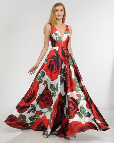 Print V-Neck and Back Long Prom Dress A-line with Pockets