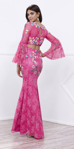 Fuchsia Two-Piece Embroidered Lace Pageant Gown with Bell Sleeves