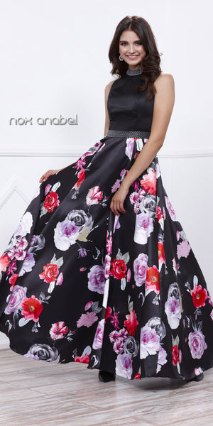 Sequins Close Neck Black Satin Prom Gown Pleated Skirt Floral Print