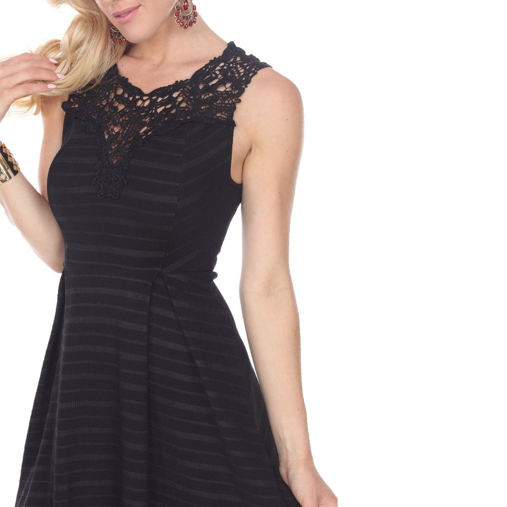 Taja Fit/Flair Skater Dress Black Short Crochet Neckline