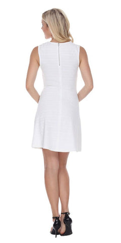Taja Fit/Flair Skater Dress White Short Crochet Neckline