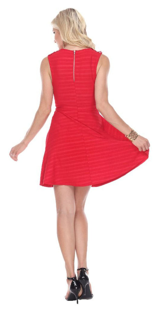 Taja Fit/Flair Skater Dress Red Short Crochet Neckline