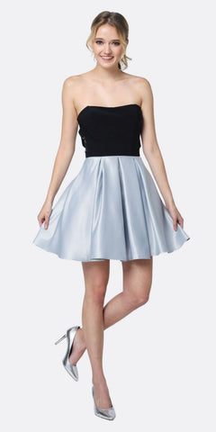Juliet 829 Two Tone Sweetheart Short Dress Homecoming Silver
