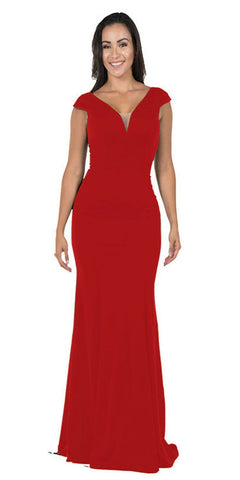 Red Racer Back Long Prom Dress with Side Cut-Outs