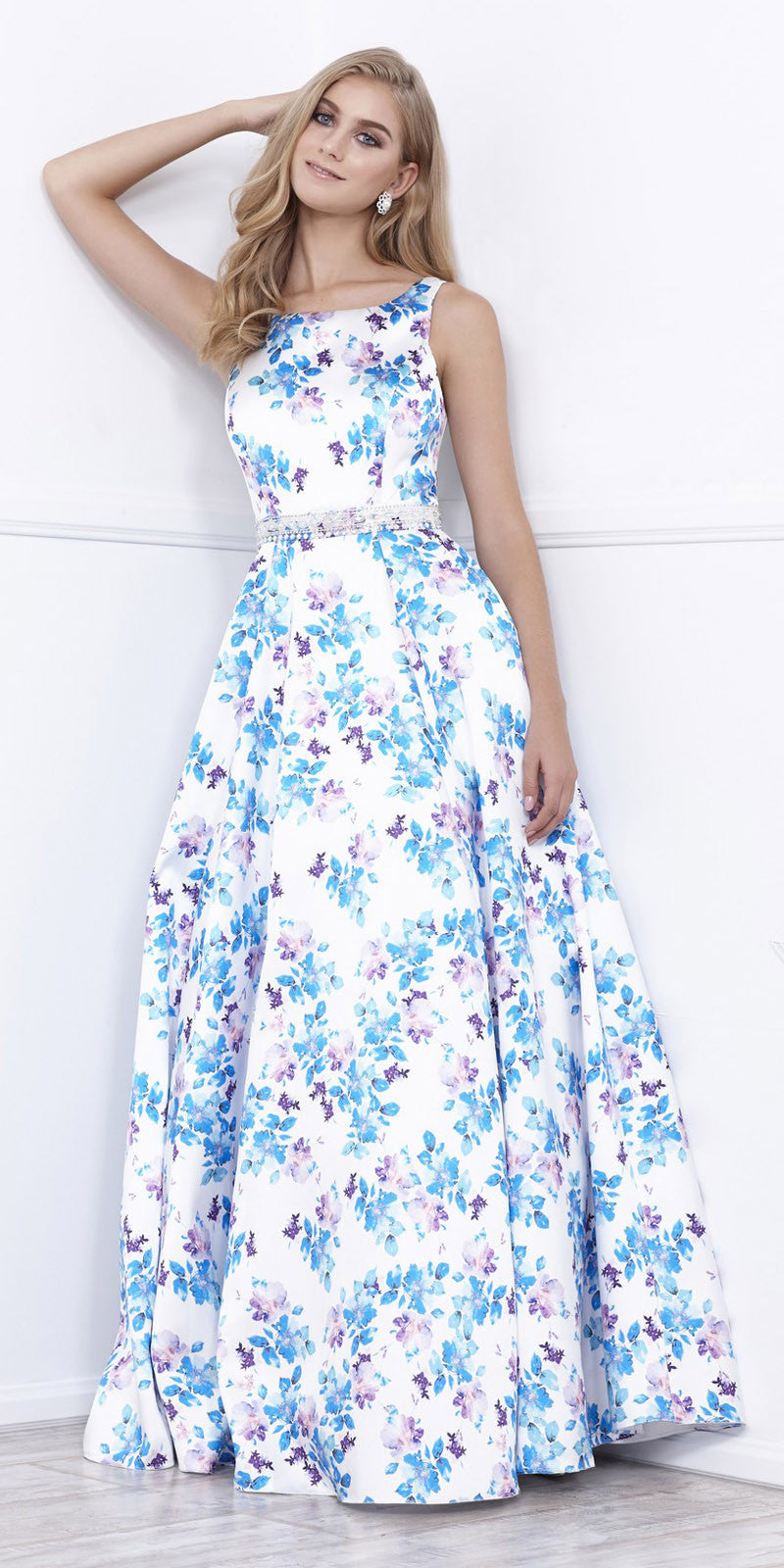 Scoop Neck White Printed Satin Sleeveless Prom Dress Long