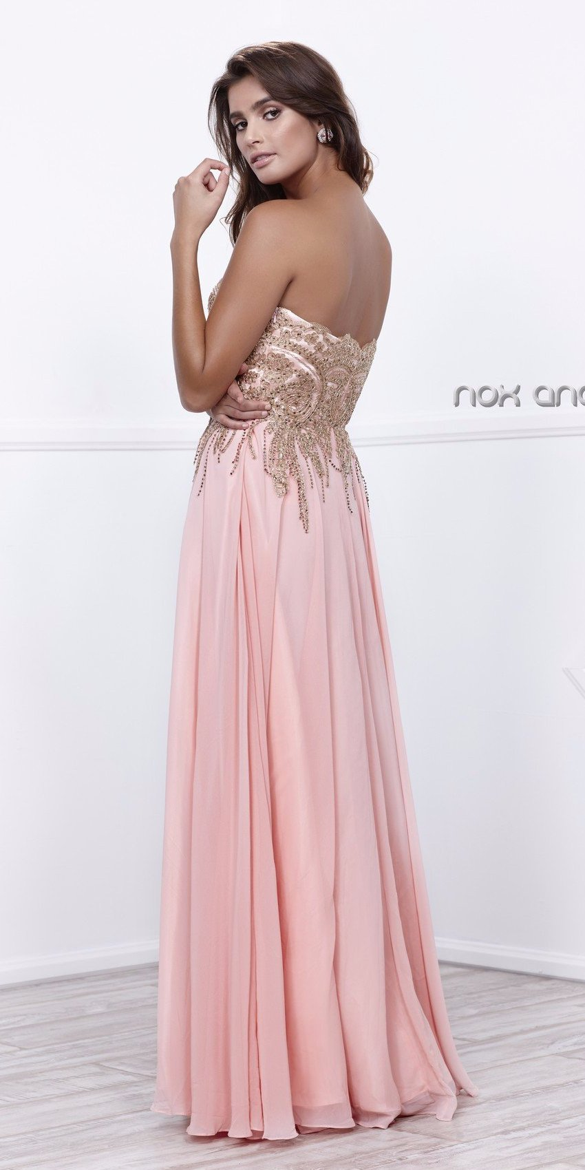Sweetheart Neck Bashful A-line Prom Gown Gold Appliqued Bodice