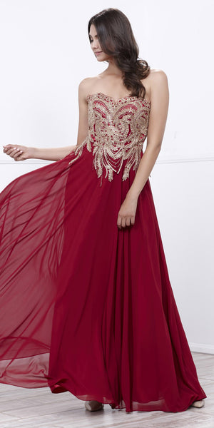 Sweetheart Neck Burgundy A-line Prom Gown Gold Appliqued Bodice