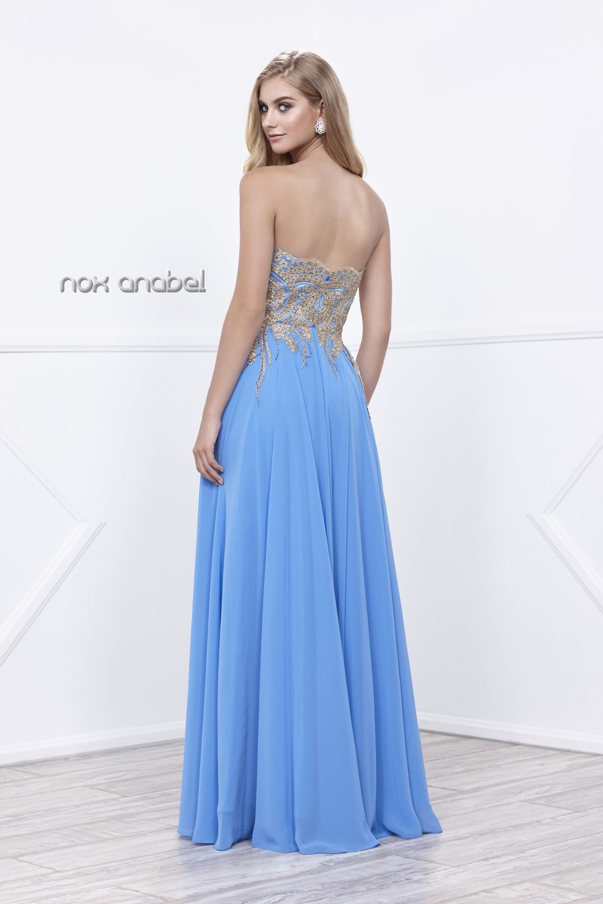 Sweetheart Neck Ocean Blue A-line Prom Gown Gold Appliqued Bodice