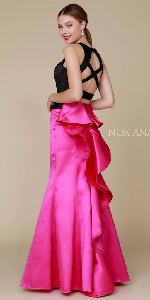 Nox Anabel 8292 Long Black/Fuchsia 2 Piece Mermaid Dress Sleeveless Crop Top