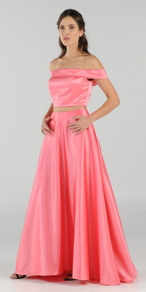 Coral Off-the-Shoulder Two-Piece Prom Gown with Pockets