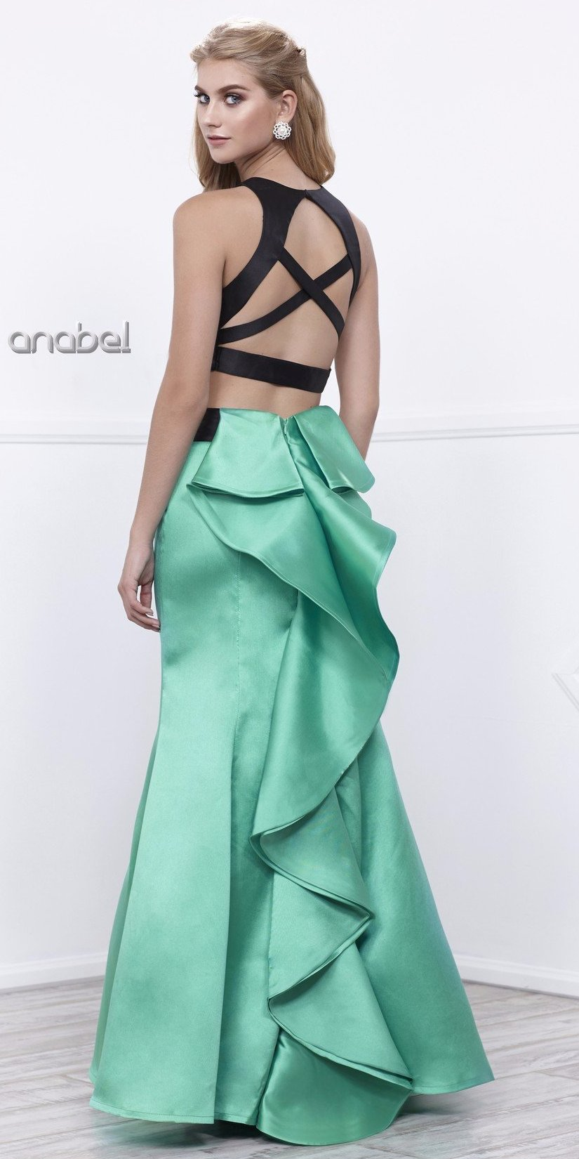 Black Sleeveless Crop Top Emerald Mermaid Skirt Two-Piece Prom Gown ...