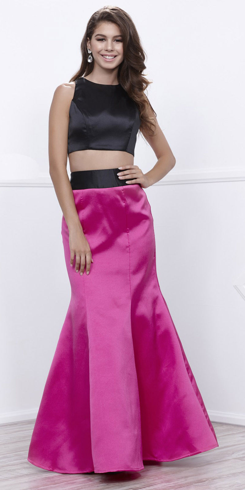 3dd4685d26689 Black Sleeveless Crop Top Fuchsia Mermaid Skirt Two-Piece Prom Gown. Tap to  expand
