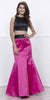 Black Sleeveless Crop Top Fuchsia Mermaid Skirt Two-Piece Prom Gown
