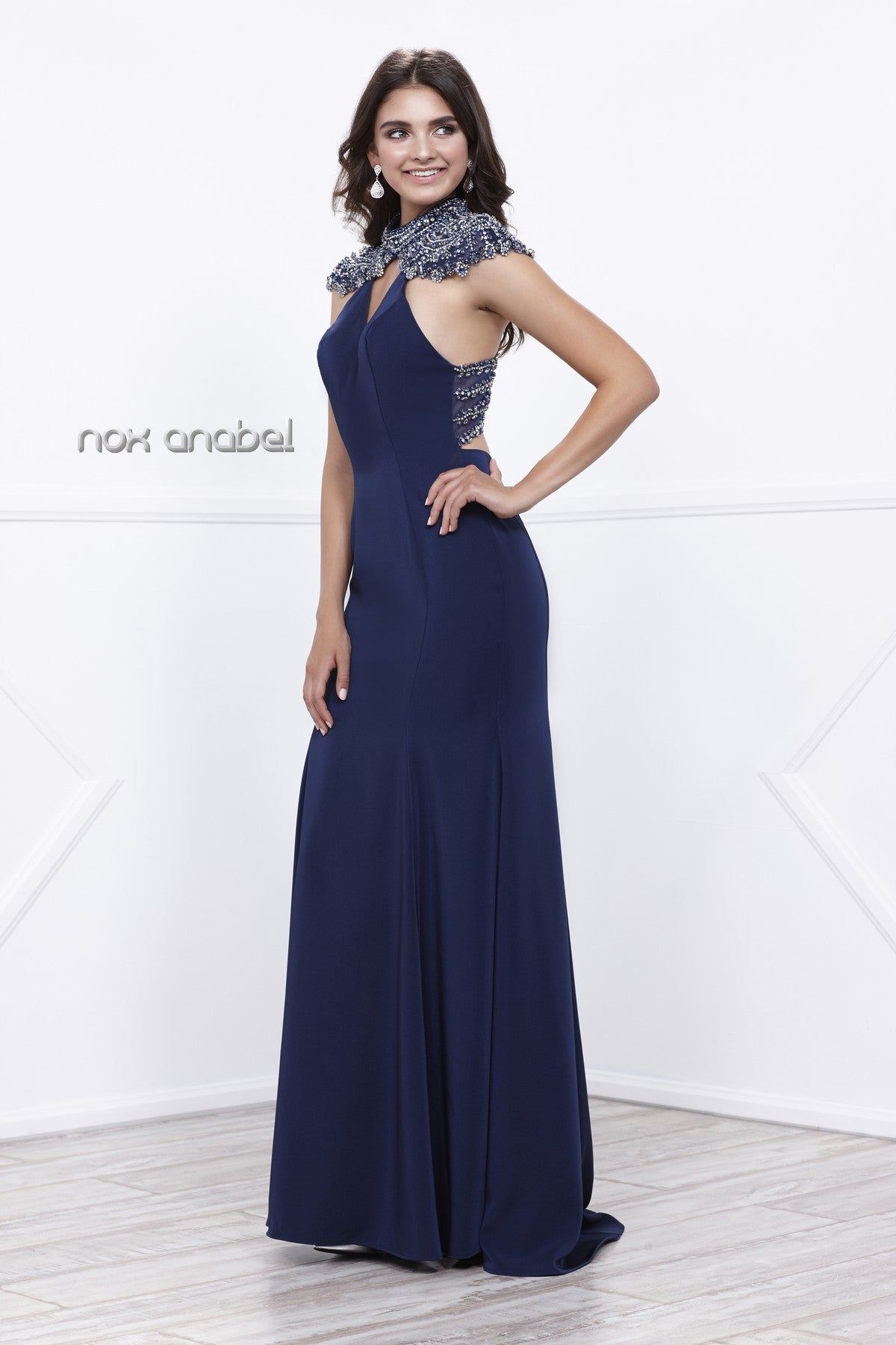 Navy Cut-Out Beaded Back V-Neck Fit and Flare Evening Gown