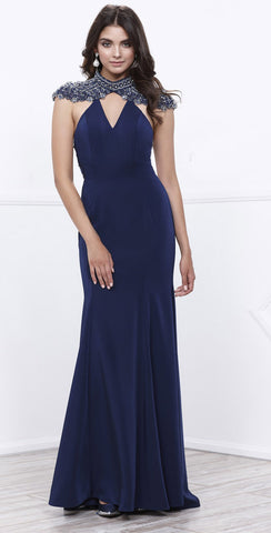 b4f7381f33 Navy Cut-Out Beaded Back V-Neck Fit and Flare Evening Gown