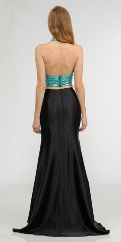 Jade Two-Piece Long Prom Dress Sequins Top V-Neck