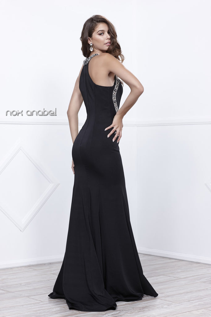 Embellished Black Cut-Out Bodice Sleeveless Prom Gown with Train
