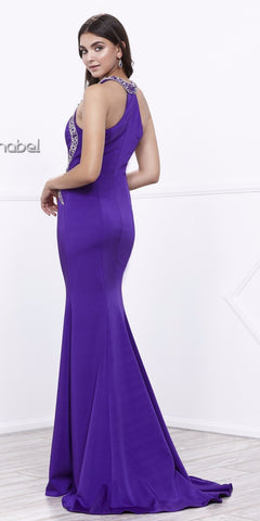 Embellished Purple Cut-Out Bodice Sleeveless Prom Gown with Train
