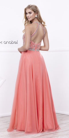5b935dff01d6 Halter Beaded Bodice A-Line Chiffon Open Back Formal Dress Coral