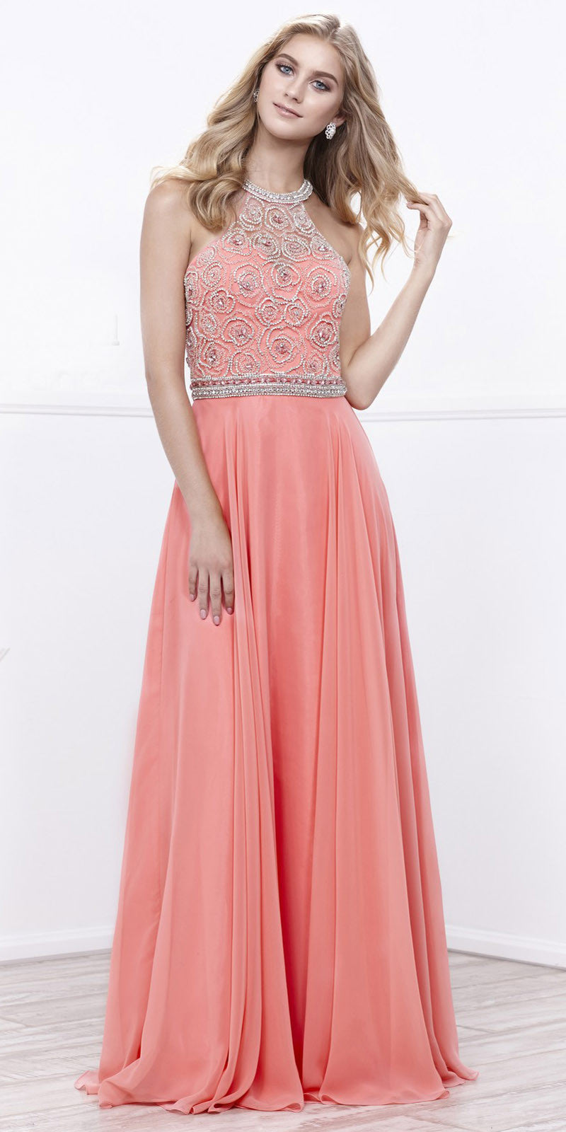 Halter Beaded Bodice A-Line Chiffon Open Back Formal Dress Coral