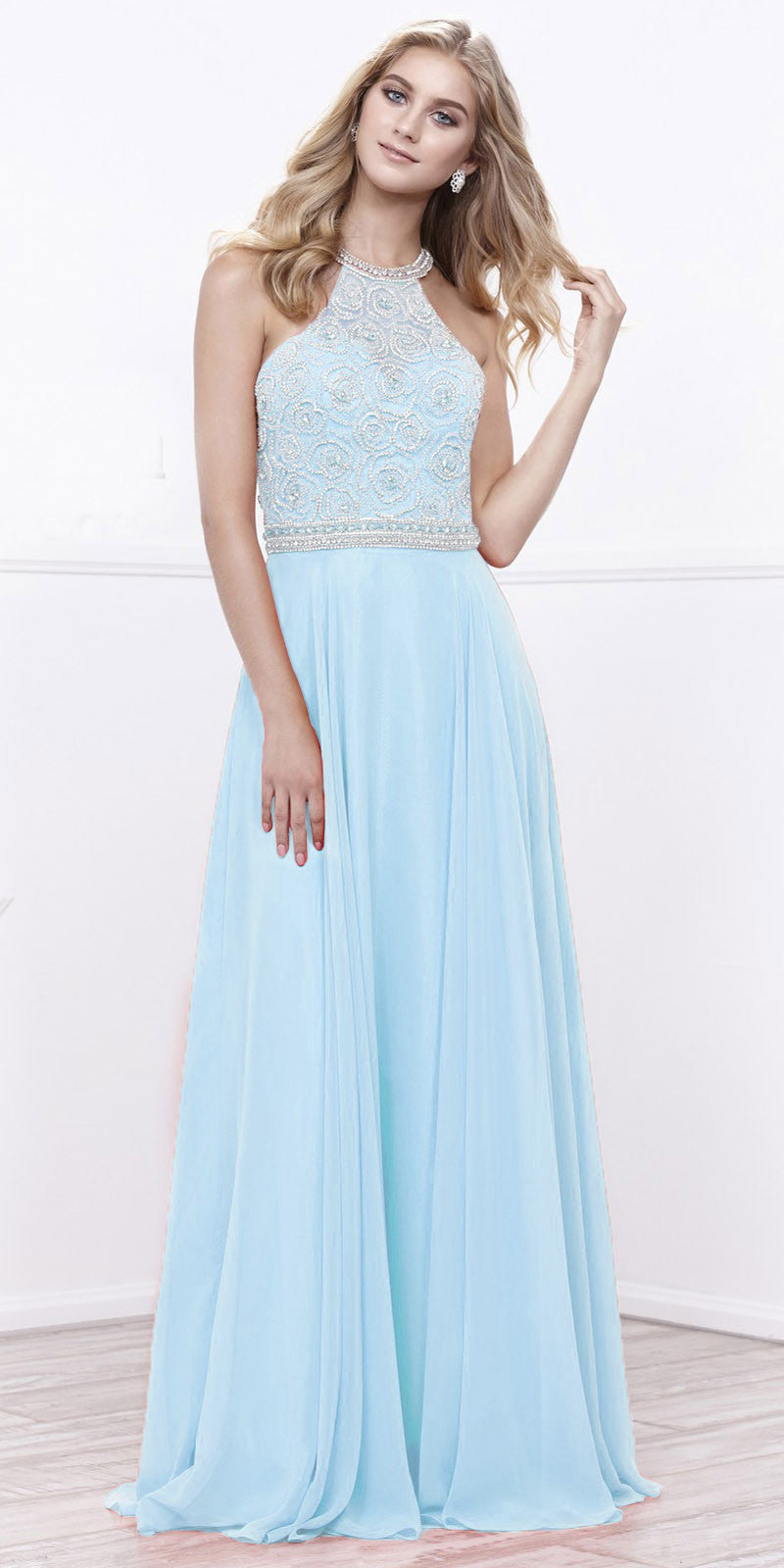 Halter Beaded Bodice A-Line Chiffon Open Back Formal Dress Ice Blue