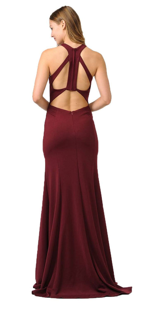 Halter Long Formal Gown Cut-Out Back Burgundy