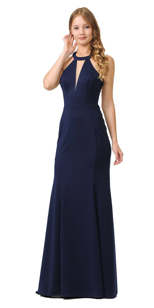 Halter Long Formal Gown Cut-Out Back Navy Blue