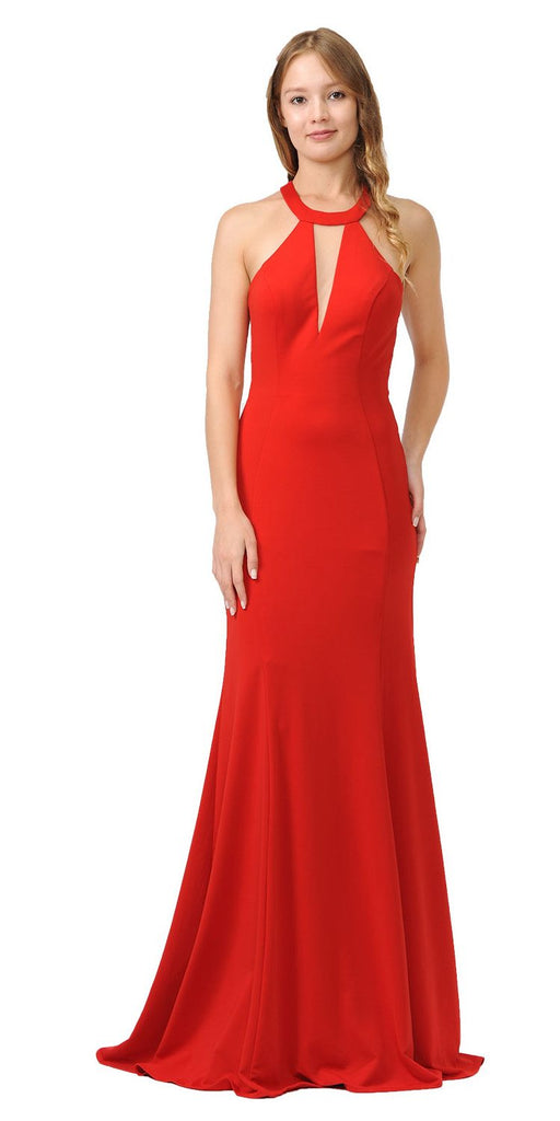Halter Long Formal Gown Cut-Out Back Red