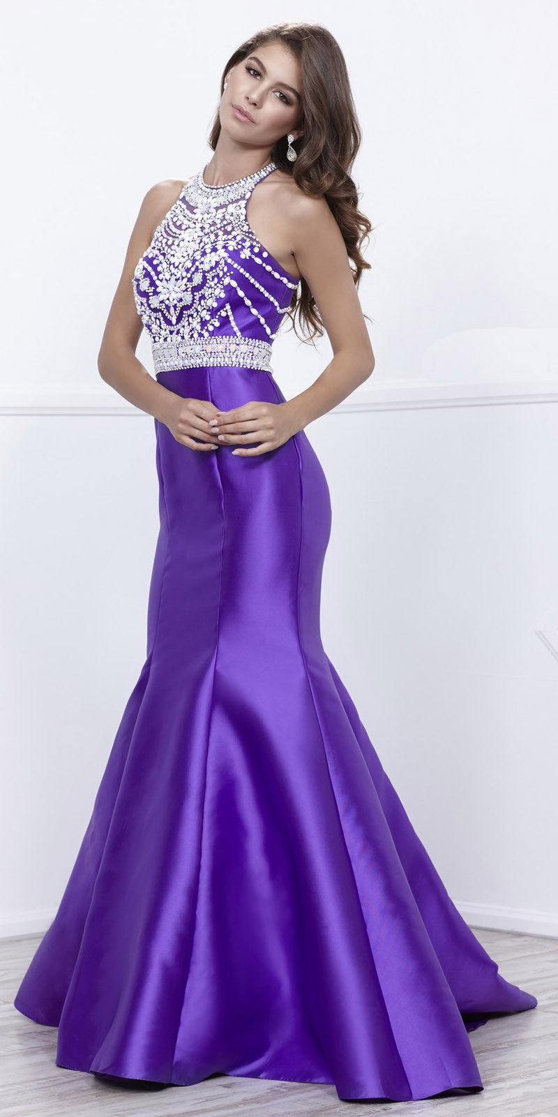 Purple Halter Satin Mermaid Prom Gown Embellished Bodice Open Back