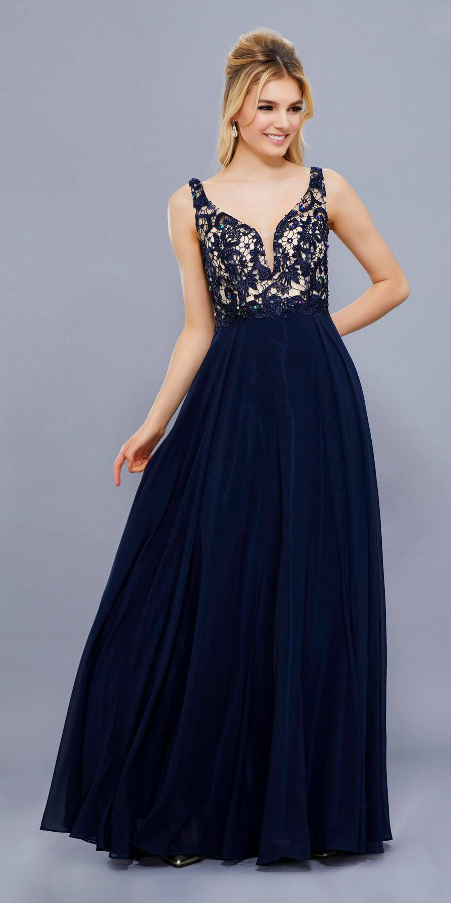 7e7db001b09 Navy Blue Nude V-Neck Lace Bodice Low Back Chiffon Formal Dress Long ...