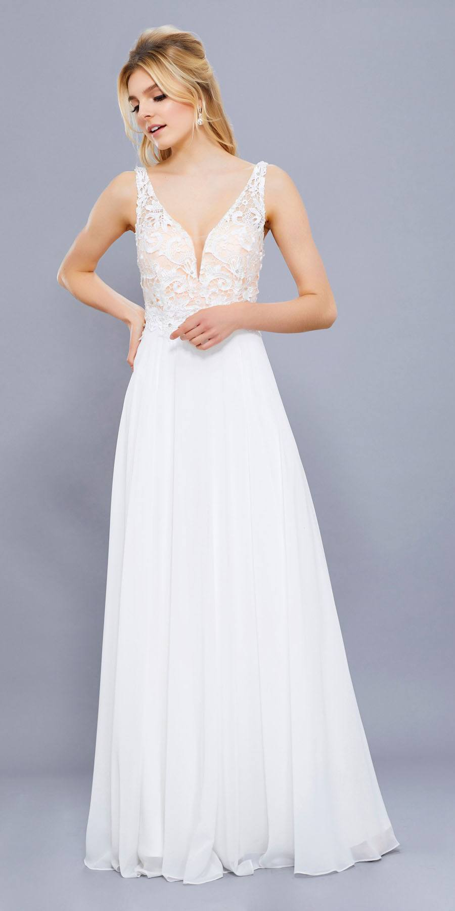 White low back formal dresses