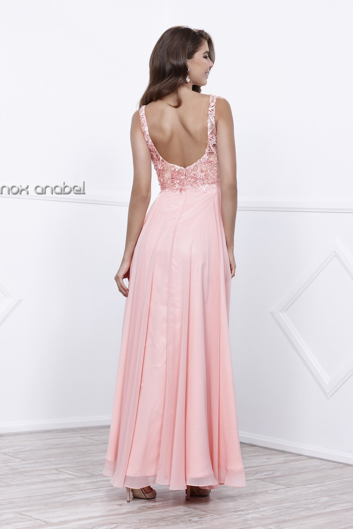 Bashful Nude V-Neck Lace Bodice Low Back Chiffon Formal Dress Long