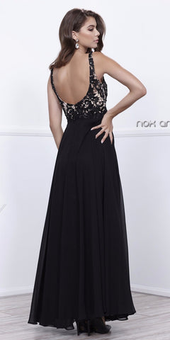Black Nude V-Neck Lace Bodice Low Back Chiffon Formal Dress Long