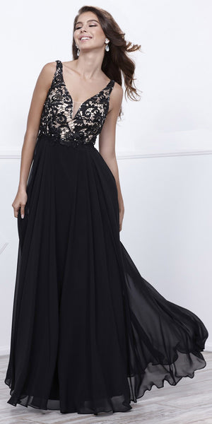 da0dc6334da Black Nude V-Neck Lace Bodice Low Back Chiffon Formal Dress Long –  DiscountDressShop