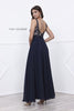 Navy Nude V-Neck Lace Bodice Low Back Chiffon Formal Dress Long