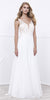 White Nude V-Neck Lace Bodice Low Back Chiffon Formal Dress Long