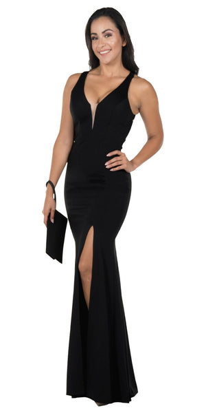 Cut-Out Back Mermaid Long Prom Dress with Slit Black