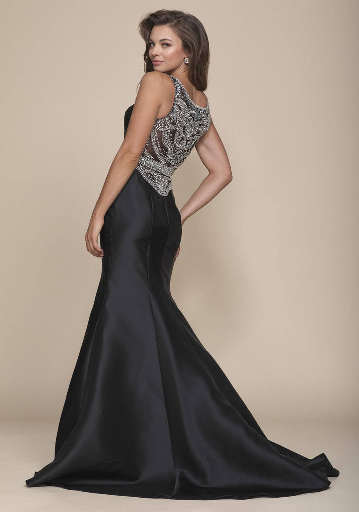 Nox Anabel 8297 Floor Length Black Trumpet Dress Beaded Bodice Waist