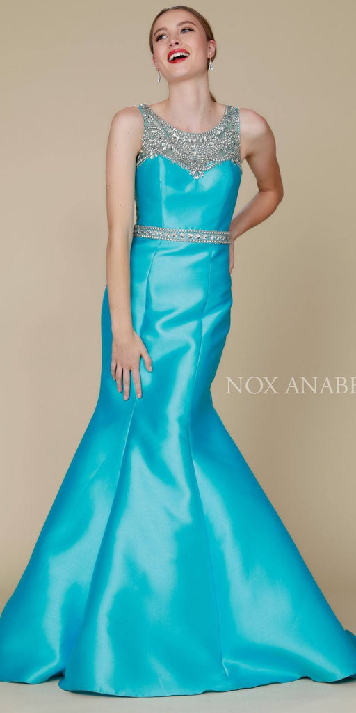 Nox Anabel 8297 Floor Length Turquoise Trumpet Dress Beaded Bodice Waist