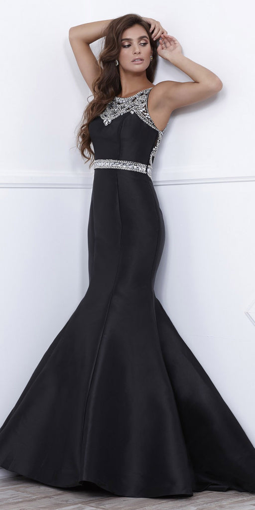 Floor Length Black Trumpet Prom Dress with Sheer Embellished Back