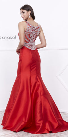 Floor Length Red Trumpet Prom Dress with Sheer Embellished Back