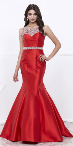Starbox USA L6094 Sheer Straps Ruched Bodice Red Empire Waist Bridesmaids Dress