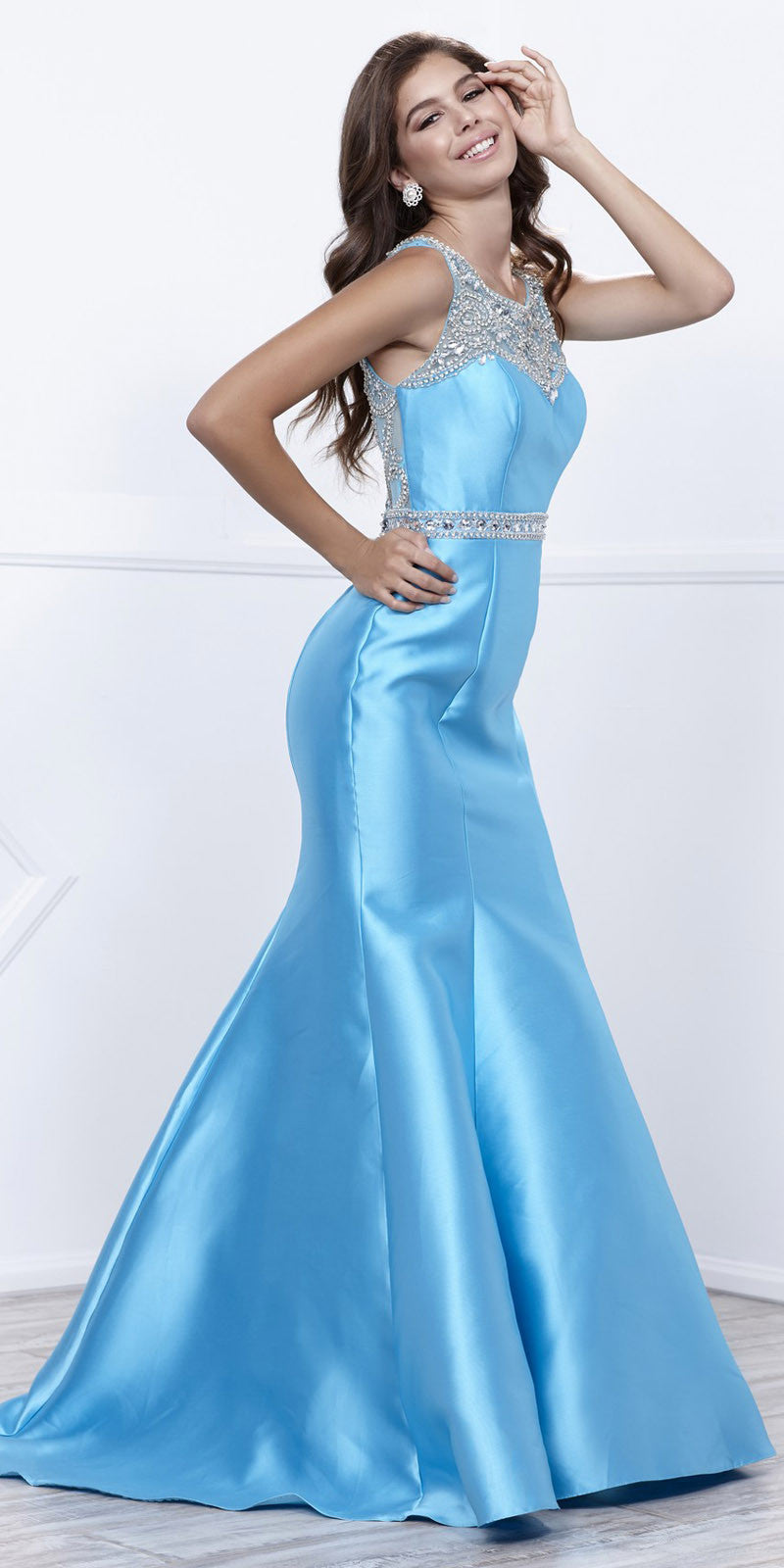 Floor Length Turquoise Trumpet Prom Dress with Sheer Embellished Back
