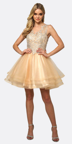 Juliet 830 Metallic Embroidered Applique Short Homecoming Dress Champagne